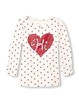 The Children's Place Girls Long Sleeve Polka Dot Print Top
