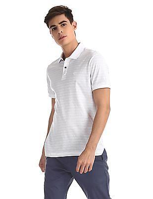 Arrow Sports White Striped Mercerized Cotton Polo Shirt