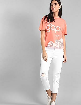GAP White High Waist Distressed Jeans