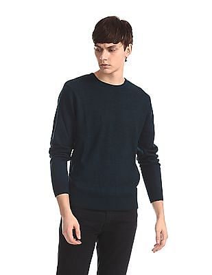 Flying Machine Blue Round Neck Patterned Knit Sweater