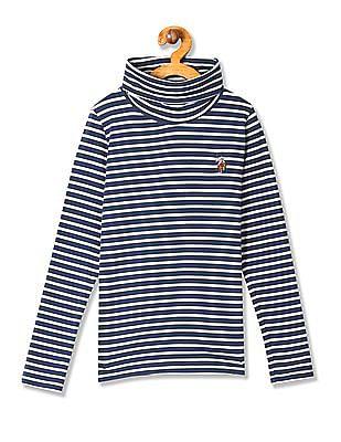 U.S. Polo Assn. Kids Girls Turtleneck Stripe T-Shirt