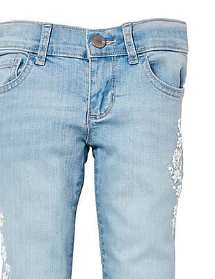 The Children's Place Girls Embroidered Daisy Skinny Jeans