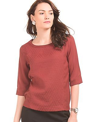 Arrow Woman Panelled Embroidered Front Top