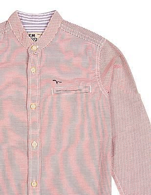 FM Boys Boys Striped Mandarin Collar Shirt