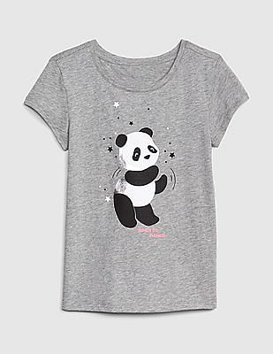 GAP Grey Girls Graphic Short Sleeve T-Shirt
