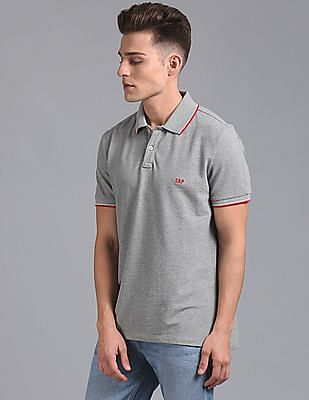 GAP Men Grey Basic Polo With Contrast Tipping & Tape Detail