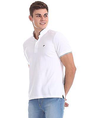 Ruggers White Mandarin Collar Pique Polo Shirt