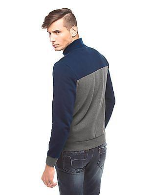 Izod Colour Block Zip Up Sweatshirt