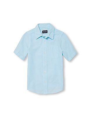 The Children's Place Boys Blue Short Sleeve Poplin Button Down Shirt