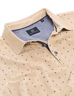 True Blue Printed Slim Fit Polo Shirt