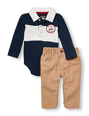 The Childrens Place Boys Long Sleeve Uniform Polo