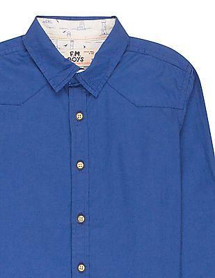 FM Boys Boys Western Yoke Slim Fit Shirt