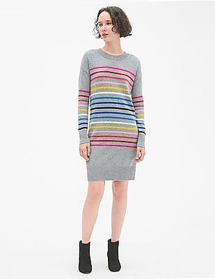 GAP Grey Crazy Stripe Crewneck Sweater Dress