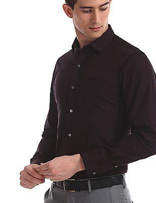 Arrow Newyork Brown Slim Fit Checked Shirt