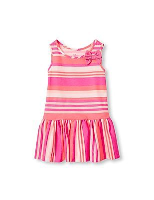 The Children's Place Toddler Girl Sleeveless Bow Drop-Waist Printed Flare Dress