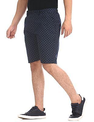 Ruggers Blue Regular Fit Printed Shorts