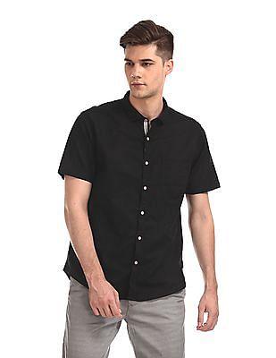 Cherokee Black Short Sleeve Cotton Linen Shirt