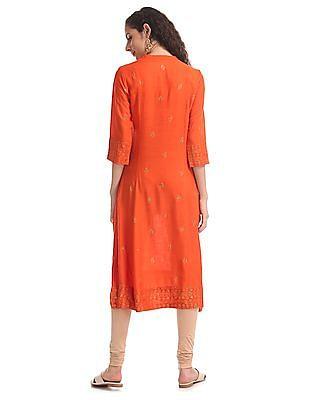 Anahi Orange Notch Collar Glitter Print Kurta