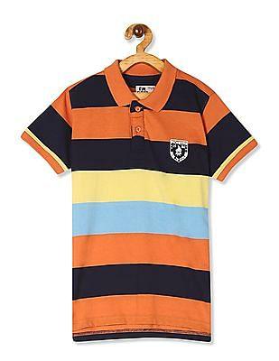 FM Boys Multi Colour Boys Short Sleeve Striped Polo Shirt