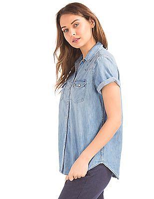 GAP 1969 Denim Short Sleeve Western Shirt