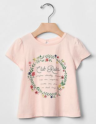 GAP Baby Pink Spring Graphic Keyhole Tee