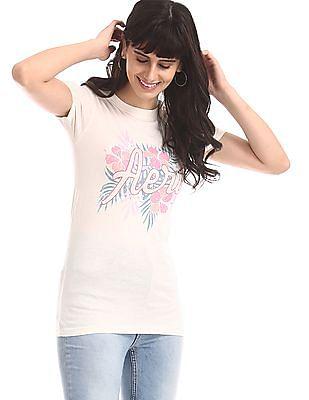 Aeropostale White Crew Neck Brand Print T-Shirt