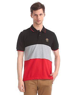U.S. Polo Assn. Multi Colour Cotton Panelled Polo Shirt