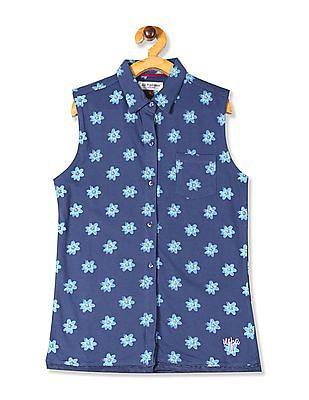 U.S. Polo Assn. Kids Blue Girls Floral Print Knit Shirt