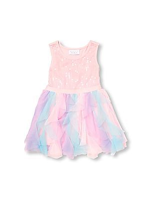 The Children's Place Toddler Girl Pink Sleeveless Sequined Mesh Dress