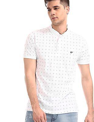 Ruggers White Mandarin Collar Printed Polo Shirt