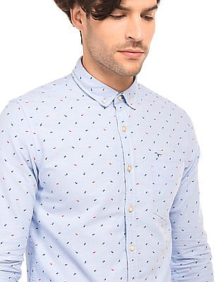 Flying Machine Fishbone Print Oxford Shirt