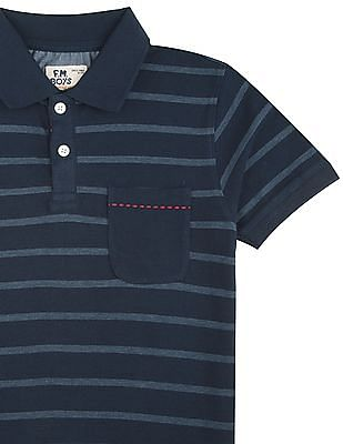 FM Boys Boys Striped Cotton Polo Shirt
