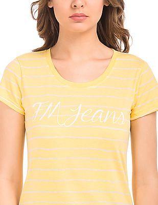Flying Machine Women Regular Fit Striped T-Shirt