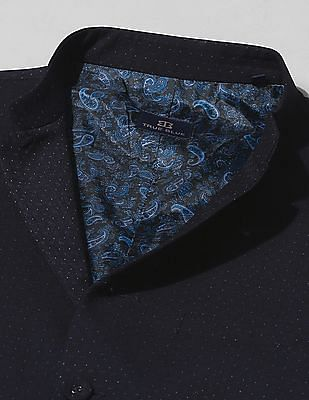 True Blue Slim Fit Patterned Weave Bandi