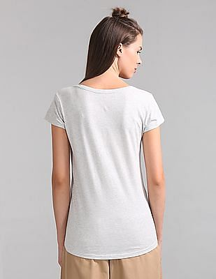 GAP Women Grey Short Sleeve Logo Tee