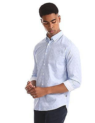Flying Machine Blue Printed Slim Fit Shirt