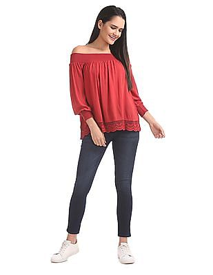 Aeropostale Off-Shoulder Crinkled Top