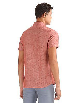 Nautica Short Sleeve Anchor Linen Print Shirt