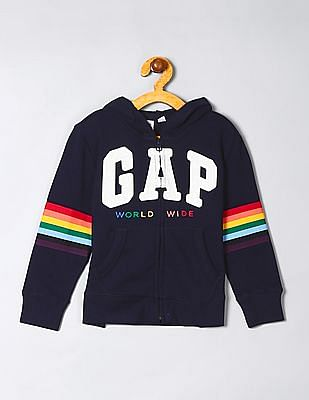 GAP Girls Blue Appliqued Hooded Sweatshirt