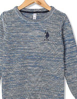 U.S. Polo Assn. Kids Girls Regular Fit Patterned Knit Sweater