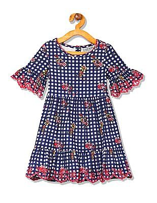 Cherokee Girls Check Fit And Flare Dress