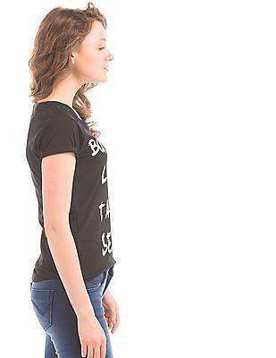 Flying Machine Women Printed Front V-Neck T-Shirt