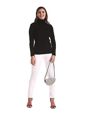 Cherokee Black Turtleneck Rib Knit Sweater