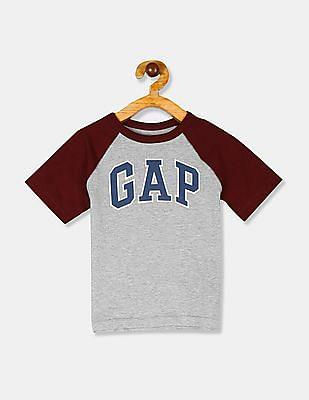 GAP Grey Toddler Boy Brand Logo Raglan Sleeve T-Shirt
