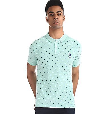 U.S. Polo Assn. Green Printed Pique Polo Shirt