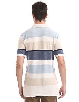 U.S. Polo Assn. Beige Striped Pique Polo Shirt