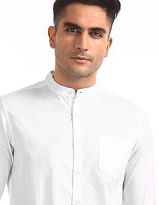 Flying Machine Mandarin Collar Solid Shirt