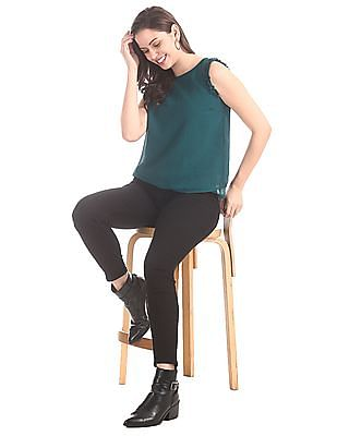 Elle Studio Green Crinkled Layered Top