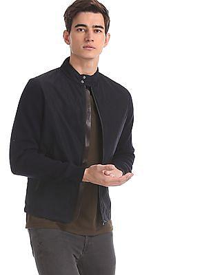 Arrow Sports Blue Knit Sleeve Stand Collar Jacket