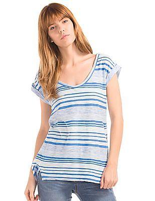 GAP Women White Slub Stripe Roll Sleeve Tee